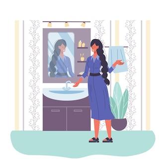 Zeichentrickfigur, die im spiegel zu hause interieur-lebensstil, schönheit und modekonzept schaut