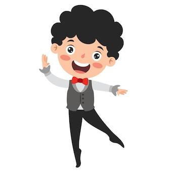 Zeichentrickfigur, die klassisches ballett durchführt