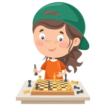 Zeichentrickfigur, die schachspiel spielt