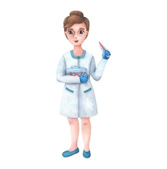 Zeichentrickfigur eine junge krankenschwester in einem schlafrock mit einem thermometer und einem erste-hilfe-kasten.