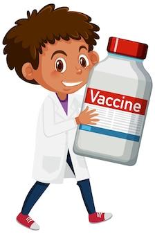 Zeichentrickfigur eines arztes, der eine covid-19-impfstoffflasche hält