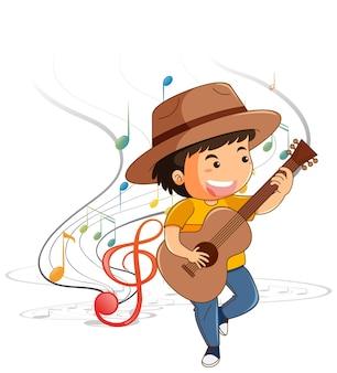 Zeichentrickfigur eines jungen, der gitarre mit melodiesymbolen spielt