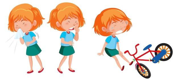 Zeichentrickfigur eines mädchens, das verschiedene aktivitäten macht