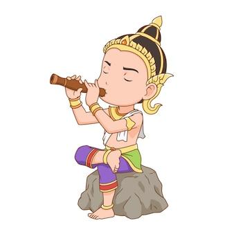 Zeichentrickfigur eines mannes, der thailändische oboe spielt und thailändische tracht anzieht.