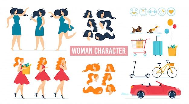 Zeichentrickfigur frau im kleid animierte set