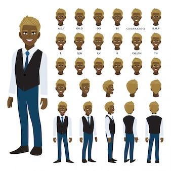 Zeichentrickfigur mit afroamerikanischem geschäftsmann im intelligenten hemd und in der weste für animation.