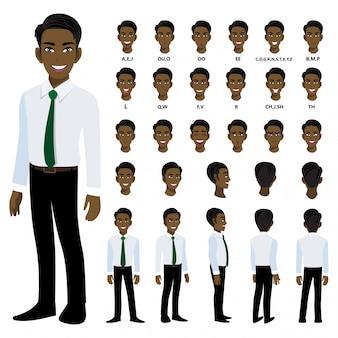 Zeichentrickfigur mit amerikanischem afrikanischen geschäftsmann im intelligenten hemd für animation.