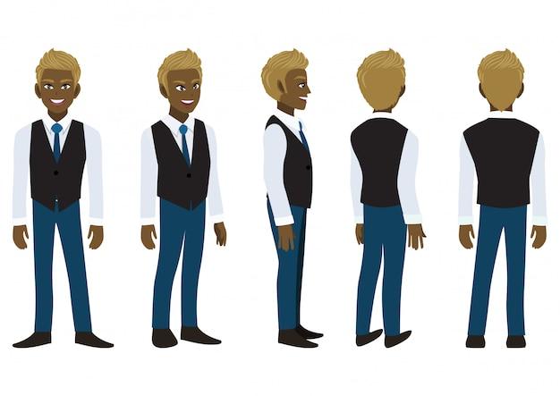 Zeichentrickfigur mit amerikanischem afrikanischen geschäftsmann in einem intelligenten hemd und in der weste für animation.