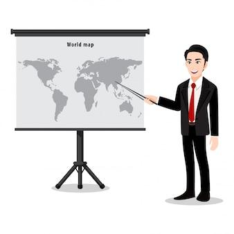 Zeichentrickfigur mit einer mannpräsentation auf karte. lehrer oder lektor, der die karte mit zeiger zeigt. flache illustration