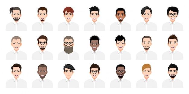 Zeichentrickfigur mit einer reihe von jungen männern mit verschiedenen frisuren und farbe flache ikone stil design