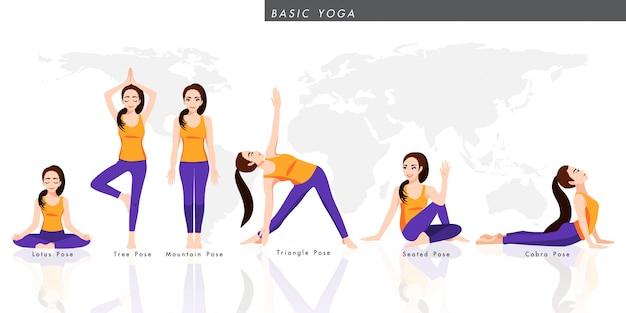 Zeichentrickfigur mit einer sammlung von grundlegenden yoga. weibliche, die sechs pose yoga, gesunden lebensstil in der flachen symboldesignillustration praktiziert