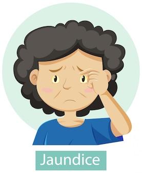 Zeichentrickfigur mit gelbsucht-symptomen