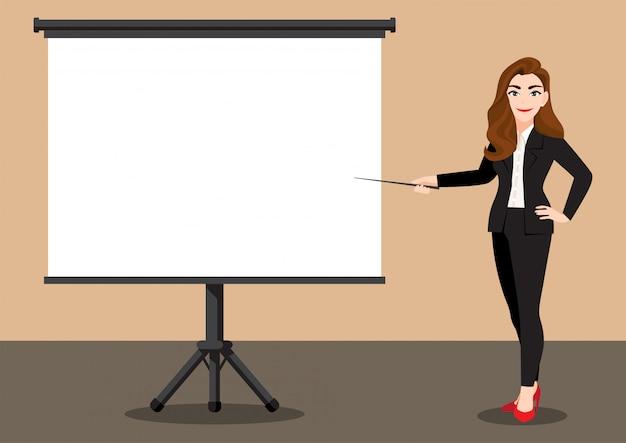 Zeichentrickfigur mit geschäftsfrau bei einer präsentation. flaches symbol