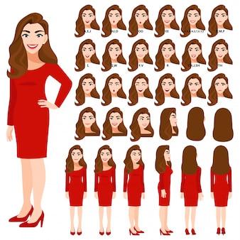 Zeichentrickfigur mit geschäftsfrau im roten kleid für animation. vorderseite, seite, rückseite, 3-4 ansichtscharakter. körperteile trennen. flache illustration.