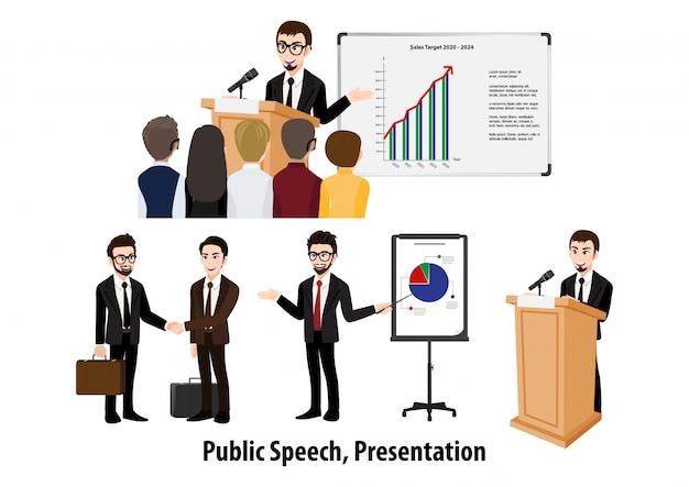 Zeichentrickfigur mit geschäftsmann, der präsentation oder eine rede aufwirft. konferenzillustration. flaches icon-set