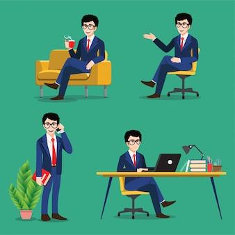 Zeichentrickfigur mit geschäftsmann stellt posen ein. geschäftsleute arbeiten, sitzen am ziel und verwenden laptop auf grünem hintergrund