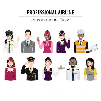 Zeichentrickfigur mit halbkörperbanner der flughafenbesatzungsaktion, professionelles flugzeugteam in uniform, flache illustration