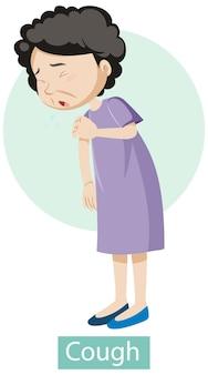 Zeichentrickfigur mit hustensymptomen