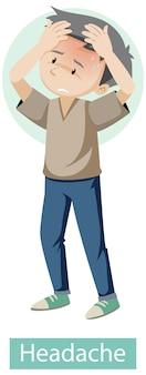 Zeichentrickfigur mit kopfschmerzsymptomen