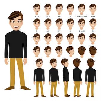 Zeichentrickfigur mit männchen im langärmeligen rollkragent-shirt zur animation.