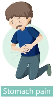 Zeichentrickfigur mit magenschmerzsymptomen