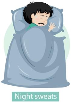 Zeichentrickfigur mit nachtschweißsymptomen