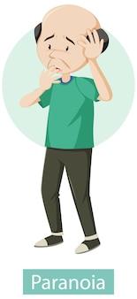 Zeichentrickfigur mit paranoia-symptomen