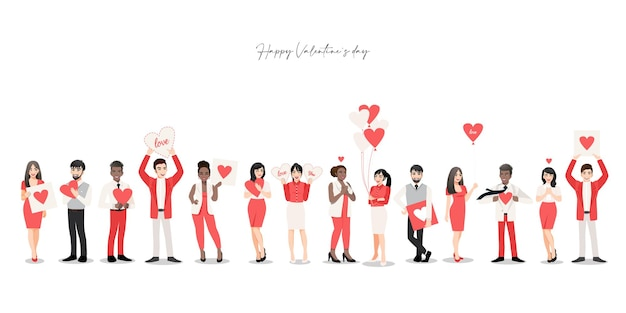 Zeichentrickfigur mit personengruppe, die herzen hält. valentinstag festival.