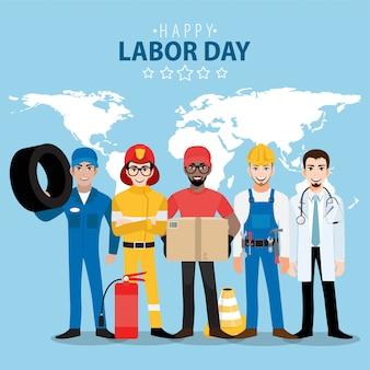 Zeichentrickfigur mit professionellem arbeiter im glücklichen arbeitstagfest