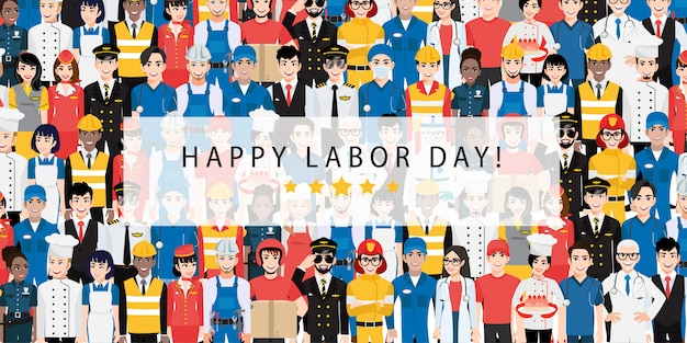 Zeichentrickfigur mit professionellem arbeiter im labor day festival design vektor