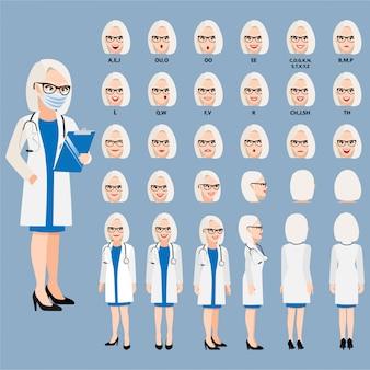 Zeichentrickfigur mit professionellem arzt in intelligenter uniform für animation. vorderseite, seite, rückseite, 3-4 ansichtscharakter. körperteile trennen. flache illustration.