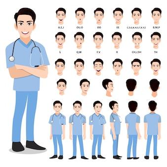 Zeichentrickfigur mit professionellem arzt in intelligenter uniform für animation. vorderseite, seite, rückseite, 3-4 ansichtscharakter. körperteile trennen.