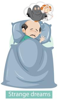 Zeichentrickfigur mit seltsamen traumsymptomen