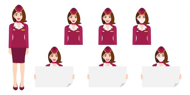 Zeichentrickfigur mit stewardess in rosa uniform mit lächeln, medizinischer maske und haltender plakatschablone.