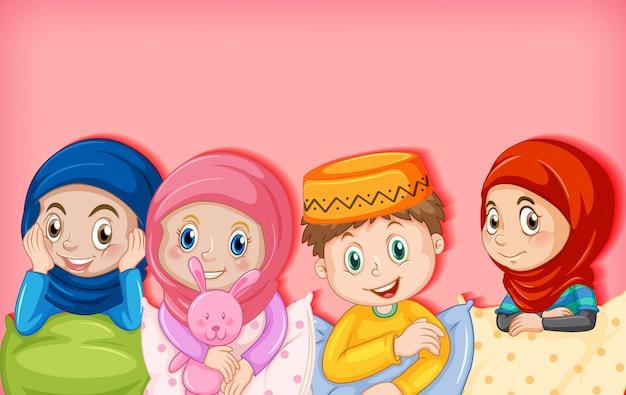 Zeichentrickfigur muslimischer kinder