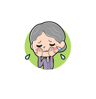Zeichentrickfigur oma, cry