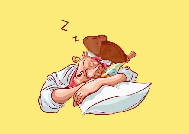 Zeichentrickfigur piratenmaskottchen betrunken schläft