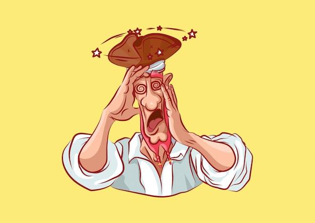 Zeichentrickfigur piratenmaskottchen schockiert
