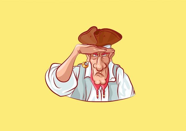 Zeichentrickfigur piratenmaskottchen späht in die ferne