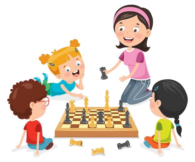 Zeichentrickfigur spielt schachspiel