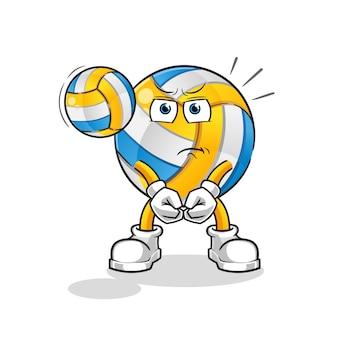 Zeichentrickfigur volleyball-service
