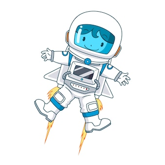 Zeichentrickfigur von astronaut floating