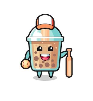 Zeichentrickfigur von bubble tea als baseballspieler, süßes design für t-shirt, aufkleber, logo-element Premium Vektoren