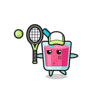 Zeichentrickfigur von erdbeersaft als tennisspieler, süßes design für t-shirt, aufkleber, logo-element