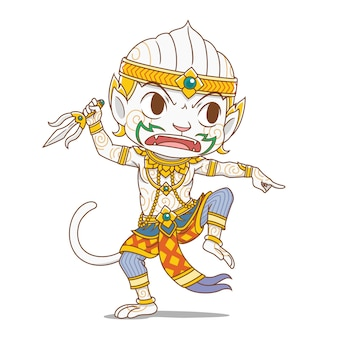 Zeichentrickfigur von hanuman, könig-affenfigur in thailands rammakian-epos.