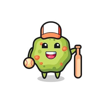 Zeichentrickfigur von kotze als baseballspieler, niedliches design für t-shirt, aufkleber, logo-element