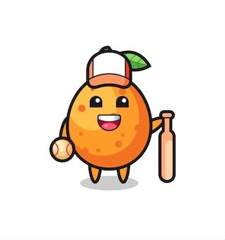 Zeichentrickfigur von kumquat als baseballspieler, niedliches design für t-shirt, aufkleber, logo-element