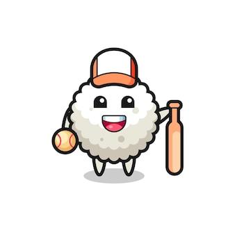 Zeichentrickfigur von reisbällchen als baseballspieler, niedliches design für t-shirt, aufkleber, logo-element