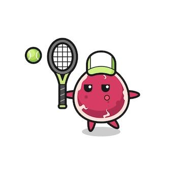 Zeichentrickfigur von rindfleisch als tennisspieler, süßes design für t-shirt, aufkleber, logo-element