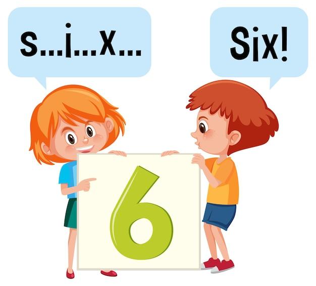 Zeichentrickfigur von zwei kindern, die die zahl sechs buchstabieren